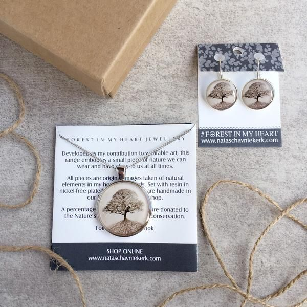 Pendant and Earrings Gift Box - The Secret Life of Trees, Grey