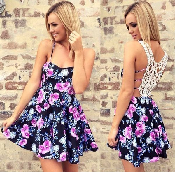 Cute Floral Dress with White Cut-Out Mesh Back