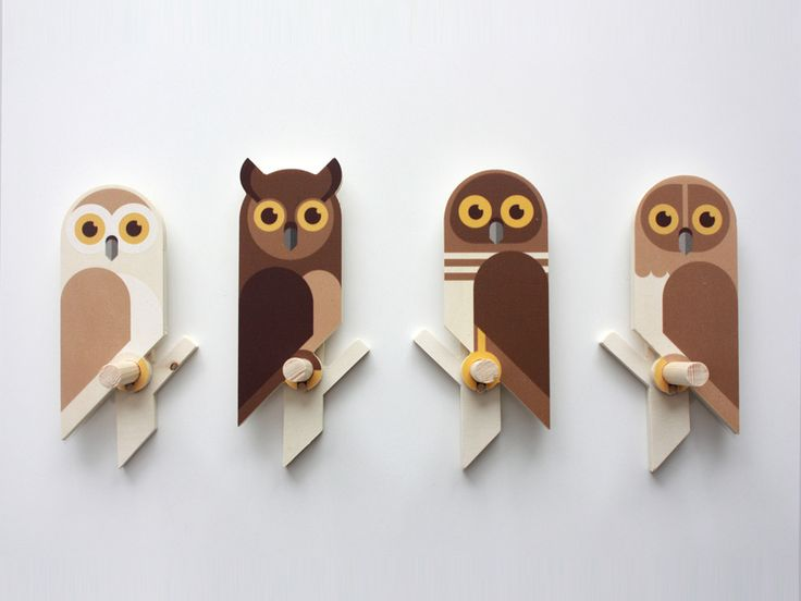 Another photo of the plywood wall hooks that I made. These are the four different types of small owls.