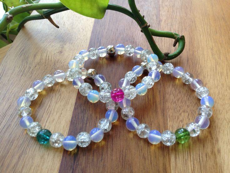 "ITEM: Unicorn Sparkle Stretch Bracelet Stack (x3 bracelets) STONES: Crackle Quartz and Moonstone 8mm beads SIZE: 6.5"" (medium)  https://m.facebook.com/JediJewellery/"