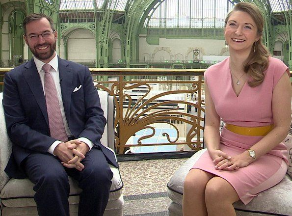 5 May 2017 - An interview with Princess Stephanie and Prince Guillaume for RTL TVI Belgian tv - dress by Paule Ka