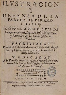 Cristóbal Salazar Mardones. Ilustración y defensa de la Fabula de Piramo y Tisbe...