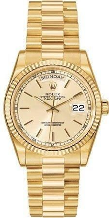 Rolex Day Date White Index Dial President Bracelet 18k Yellow Gold Mens Watch 118239WSP    18kt yellow gold case and president bracelet. White dial with stick markers. Date displays at 3 o'clock position. Day displays at 12 o'clock position. Fluted 18kt yellow gold bezel. Synthetic sapphire crystal. Automatic movement. Water resistant at 30 meters (100 feet).  $24,766.50 at Amazon Marketplace
