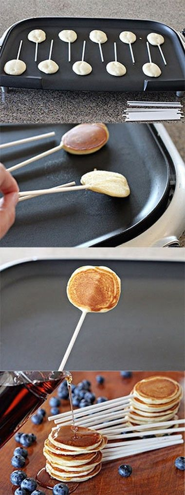 Pancake pops-- how cute! Want to do with the niece!