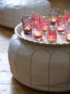 wonderful Moroccan pouffe's; with a silver tea tray they make a perfect coffee table.