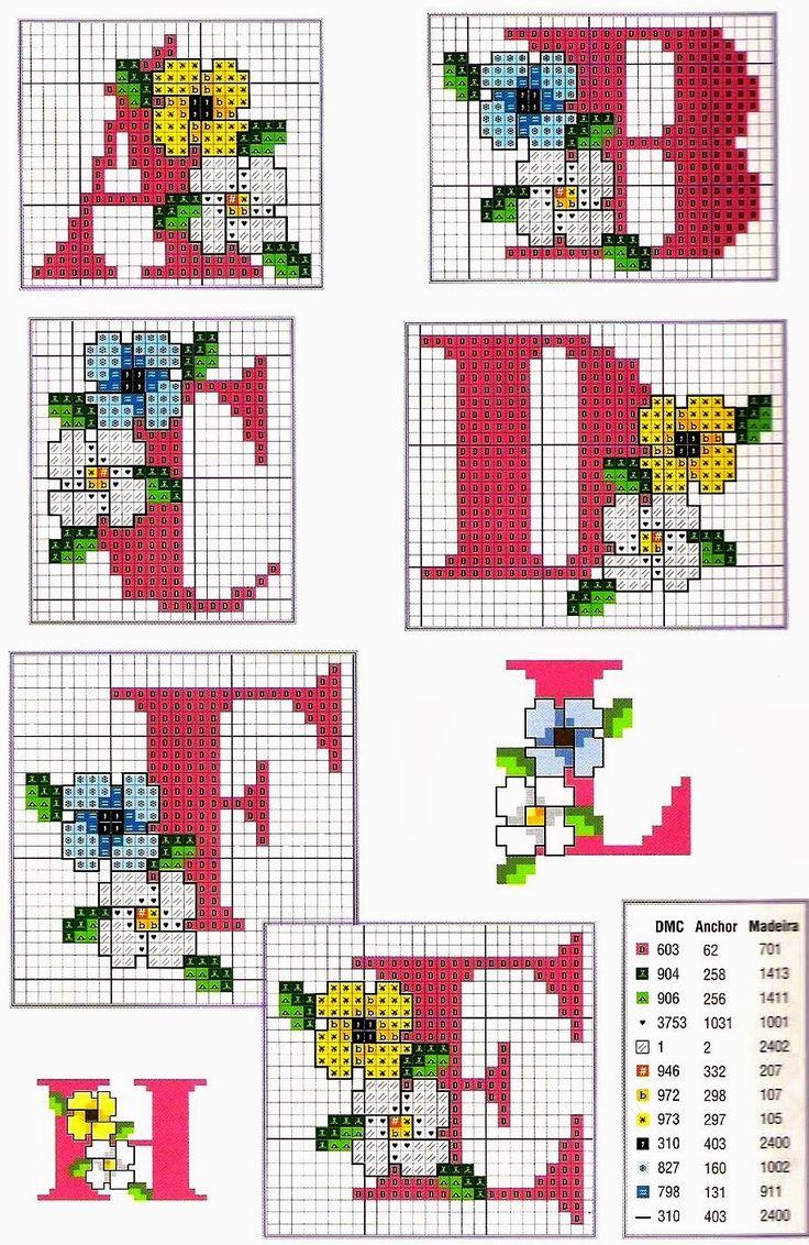 Ricami, lavori e centinaia di schemi a punto croce di tutti i tipi, gratis: Alfabeto a punto croce- fiori di campagna