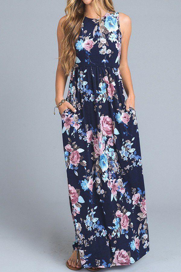 All Glammed Up Floral Maxi Dress - Navy | Maxi Dress, Floral Maxi Dress, Tank Maxi Dress, Floral Print Maxi Dress, Floral Print, Garden Floral Print, Long Dress, Casual Dress, Party Dress, Casual Maxi Dress, Long Casual Dress, Bridal Shower Dress, Rehearsal Dinner Dress, Honeymoon Dress, Vacation Dress, Vacay Dress, Floral Print Vacation Dress, Island Dress, Beach Dress