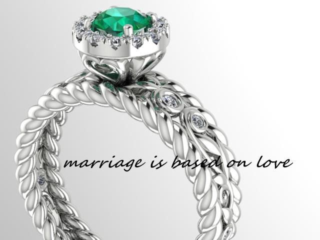 Wedding and Engagement ring,  DIAMOND Twisted Bridal ring, filigree Diamond Engagement ring, Natural Genuine Emerald Wedding Ring by BridalRings on Etsy https://www.etsy.com/listing/245063168/wedding-and-engagement-ring-diamond