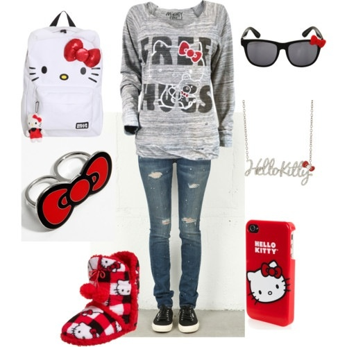 Hello Kitty outfit. I love the ring
