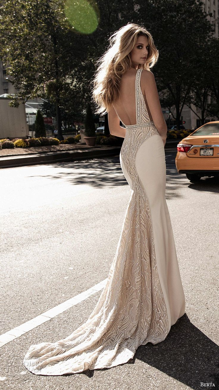 berta fall 2017 bridal sleeveless with strap deep plunging v neck heavily embellished bodice elegant sexy sheath wedding dress low back sweep train (003) bv