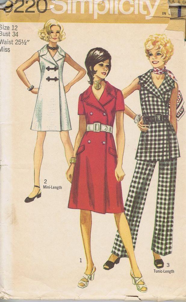 """VINTAGE Dress Pants Sewing Pattern 60s SIMPLICITY 9220 SZ 12 BUST 34 HIP 36"""" CUT"""