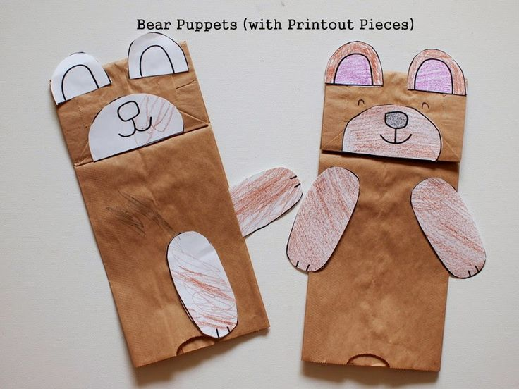 We're going on a Bear Hunt - Make a paper bag bear puppet (with printables)