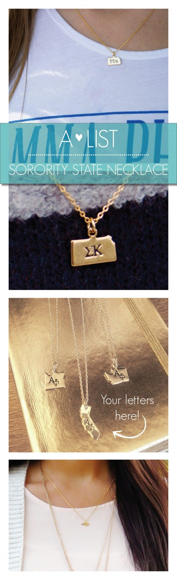 Get in the right State of mind with these cute Sorority State Necklaces. Available in silver & gold at www.alistgreek.com. Makes a great initiation, bid day or big/little gift! #sorority