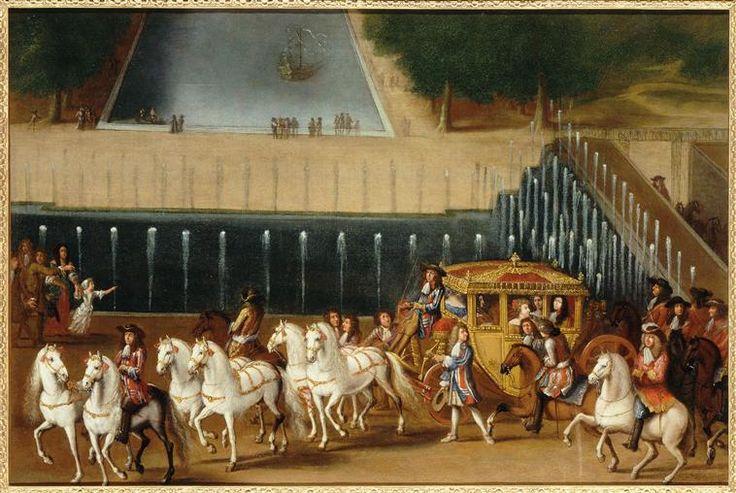 Promenade en carrosse à Fontainebleau Anonyme Peut-être de Monsieur, frère du roi et sa seconde femme, Charlotte-Elisabeth de Bavière, dite la princesse Palatine