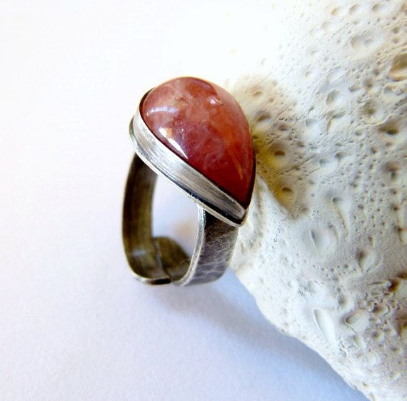 Rhodochrosite silver ring, handcrafted coctail ring, metalwork, OOAK jewelry