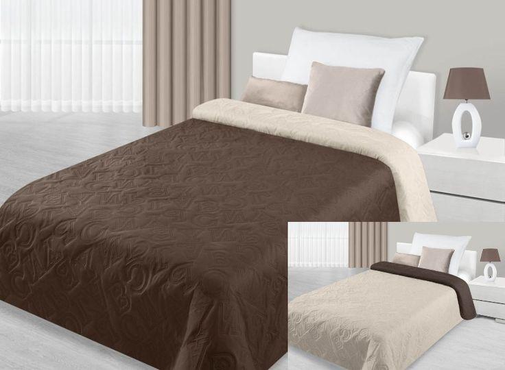 Brązowo kremowa dwustronna narzuta na łóżko