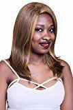 A.Monamour Women's Yellow Brown Mix Natural Straight No Bangs Medium Shoulder Length Full Hair Wig