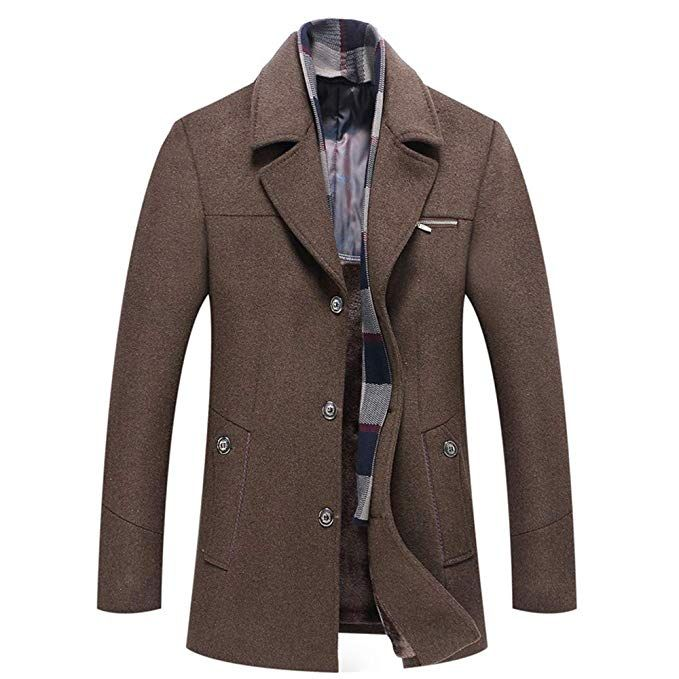 a1d22628446de INVACHI Mens Winter Wool Coat Single Breasted Quilted Wool Trench Coat with  Removable Scarf at Amazon Men s Clothing store