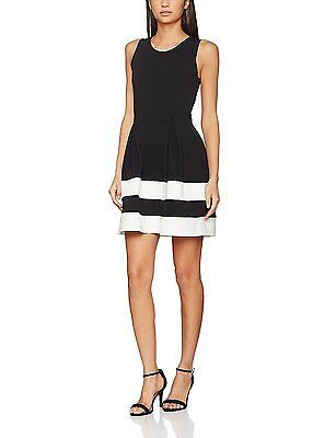 12, Black (Black), Springfield Women's 3.China. Vestido Bicolor Casual Dress NEW
