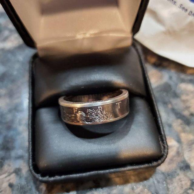 Coin Ring 1917 1947 Silver Coin Ring Walking Liberty Half Dollar