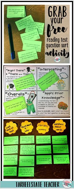 """Grab your free Reading Test Prep """"Question Sorting Activity."""" Have your students study and generalize the types of questions they will see on their end of grade/state reading test. Learn all about how I launch my reading test prep unit with this question"""