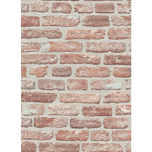 Brittany Faux Brick Wallpaper in Red and Brown design by BD Wall ($50) ❤ liked on Polyvore featuring home, home decor, wallpaper, backgrounds, walls, phrase, quotes, saying, text and brown home decor