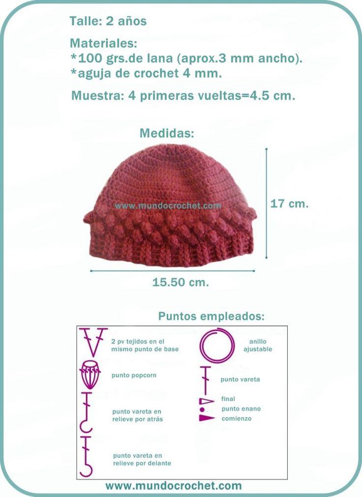 Mejores 38 imágenes de Gorrita en Pinterest | Sombreros de ganchillo ...