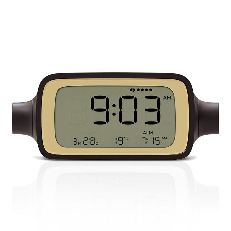 Schicker LCD-Wecker mit Licht und Snooze in braun DREAMTIME von Lexon!