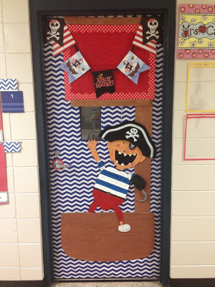Pirate theme classroom door.
