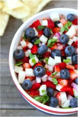 "Patriotic Berry Salsa [Source: ""Dolce Diet Memorial Day Celebration Menu"" @ The Dolce Diet] -- #food #cooking #recipes #patriotic #patriotism"