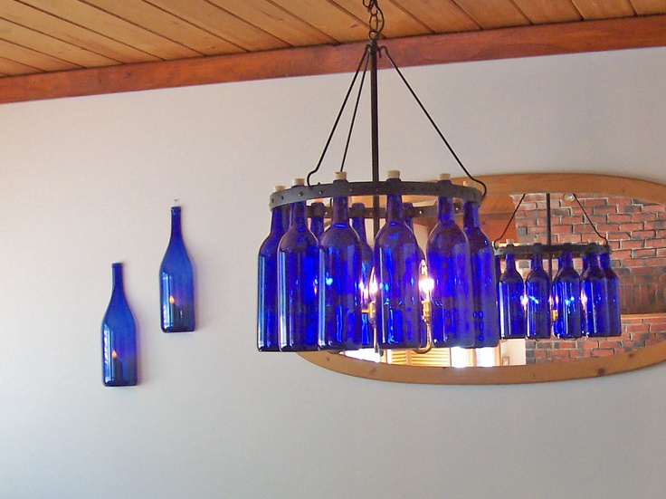 Mejores 44 imgenes de rainvilledesigns wine bottle chandeliers en cobalt blue bordeaux chandelier with matching wall sconces etsyshop aloadofball