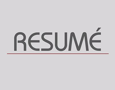 "Check out new work on my @Behance portfolio: ""RESUMÉ"" http://be.net/gallery/31343141/RESUME"