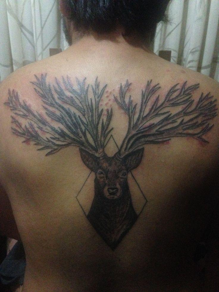 #deer #back #tattoo #tatuaje #blackink