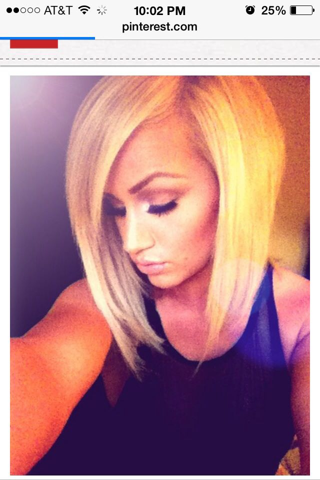Inverted bob! I used tp have my hair like this for years bow that my hair is really long I'm missing this look!