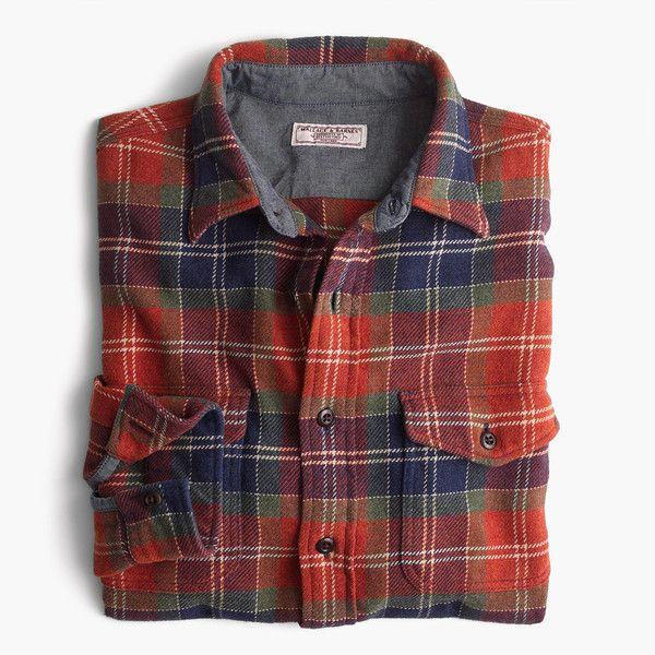 J.Crew Wallace & Barnes heavyweight flannel shirt in red leaf plaid ($98) ❤ liked on Polyvore featuring men's fashion, men's clothing, men's shirts, men's casual shirts, mens tartan shirt, mens red shirt, mens flannel plaid shirts and mens red tartan shirt