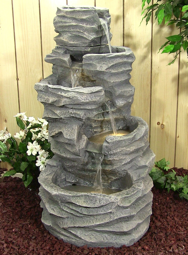 5 Level Rock Pond Fountain With LED Lights. Outdoor ...