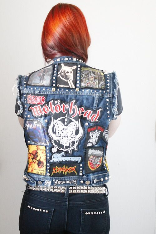 patch jacket heavy metal headbanger long hair red ginger head