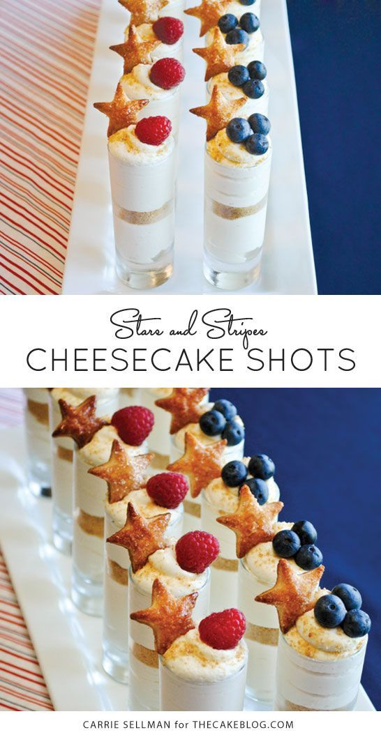 Memorial Day or July 4th or both!  |  Patriotic Cheesecake Shots | by Carrie Sellman for TheCakeBlog.com