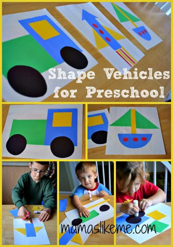 Mamas Like Me: Learning Shapes with Vehicles #preschoolcrafts