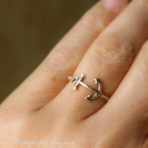 Anchor Ring Sterling Silver Jewelry Nautical Ring by 36ten on Etsy