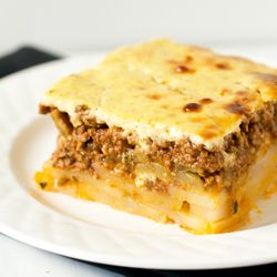 Moussaka -- This Greek-style lasagna casserole is such a warm, delicious, cozy comfort food.