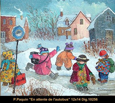 Original oil painting on canevas by Paulin Paquin #paulinepaquin #art #artist #canadianartist #quebecartist #children #winterscene #originalpainting #oil #balcondart #multiartltee