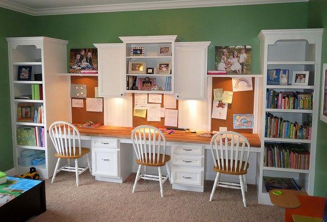 21 best built in desk ideas images on pinterest - Playroom office ideas ...