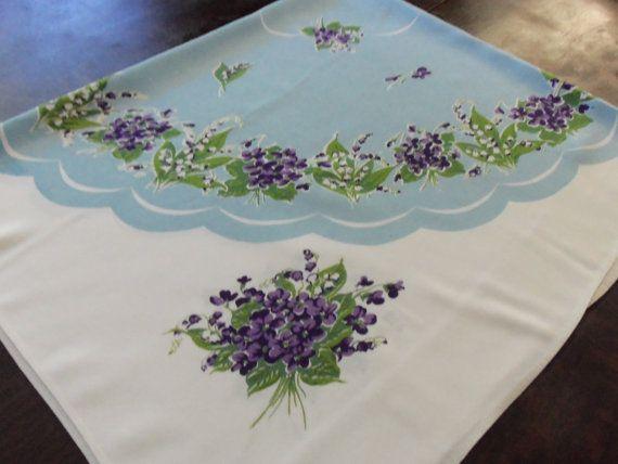 Pretty Violets Vintage Tablecloth 1950's