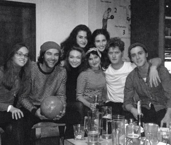 Via @ReedHeida -  Harriet Ballard, Aidan Turner, Eleanor Tomlinson, Crystal Leaity, Ruby Bentall, Heida Reed, Kyle Soller and Jack Farthing.