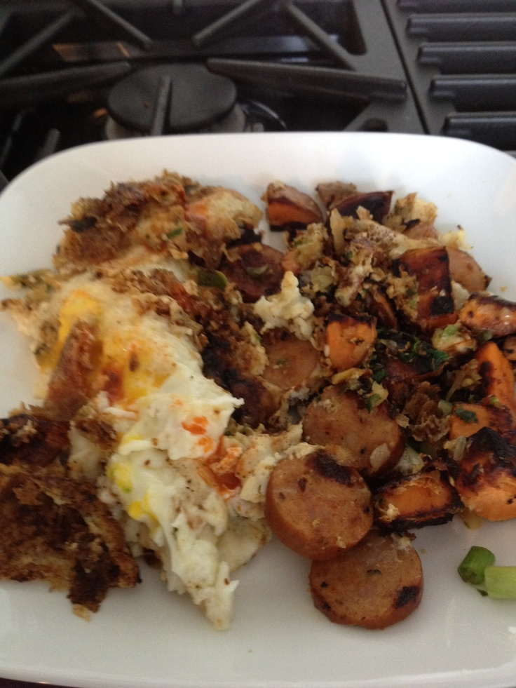 Andouille Sausage Hash With Poached Eggs Recipes — Dishmaps