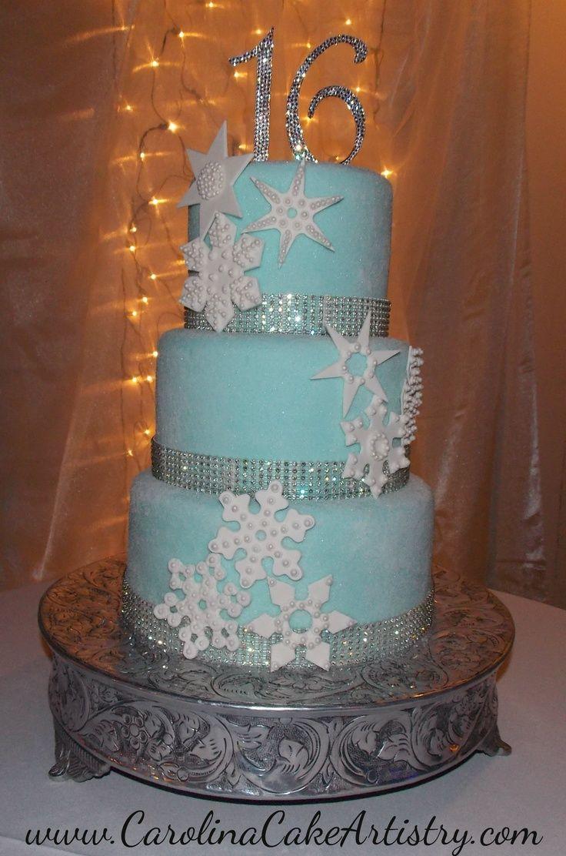 Winter Wonderland Sweet 16 Dresses | Sweet 16 Snowflake Cake!