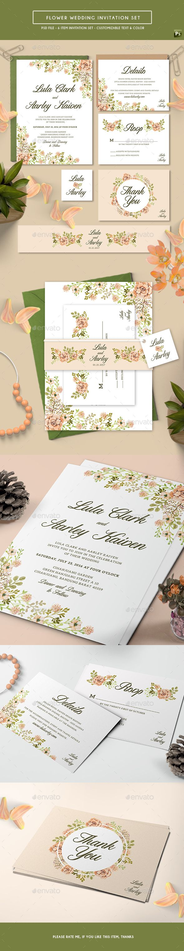 free wedding invitation psd%0A Flower Wedding Invitation