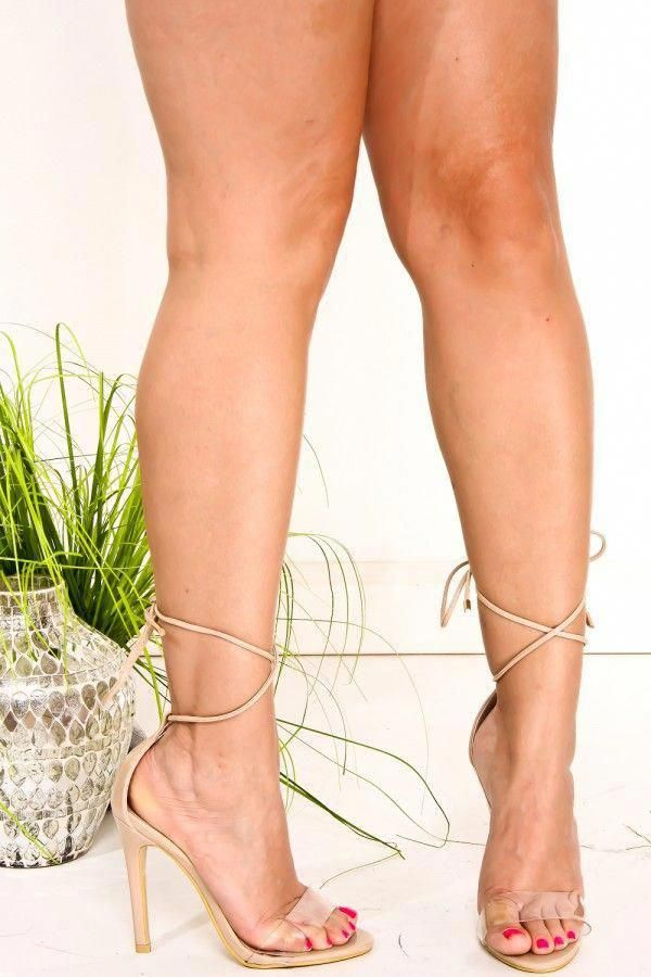 c59b5b8567c NUDE PATENT CLEAR OPEN TOE SUEDE LACE UP ANKLE STRAP HIGH HEELS   Platformpumps