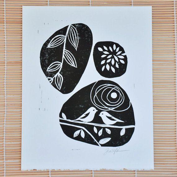 Linocut print - modern birds block print - 8x10 black, kitchen wall decor, signed linocut, original art print, birds and pebbles, wall decor